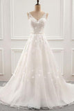 White Romantic Open Back Sweep Train Wedding Dresses with Appliques, SW232