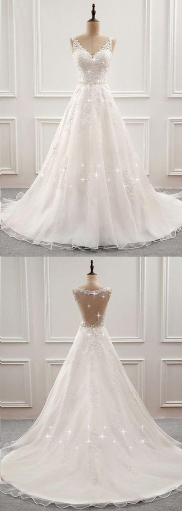 White Romantic Open Back Sweep Train Wedding Dresses with Appliques, SW232|simidress.com
