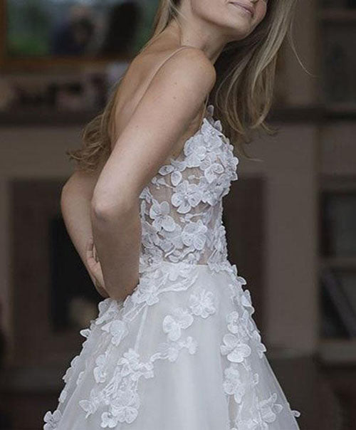 Gorgeous White A Line Sweetheart Tulle Wedding Dresses with Appliques, SW233