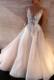 Simple White Lace V-neck A-line Long Wedding Dresses, Bridal Gown, SW234