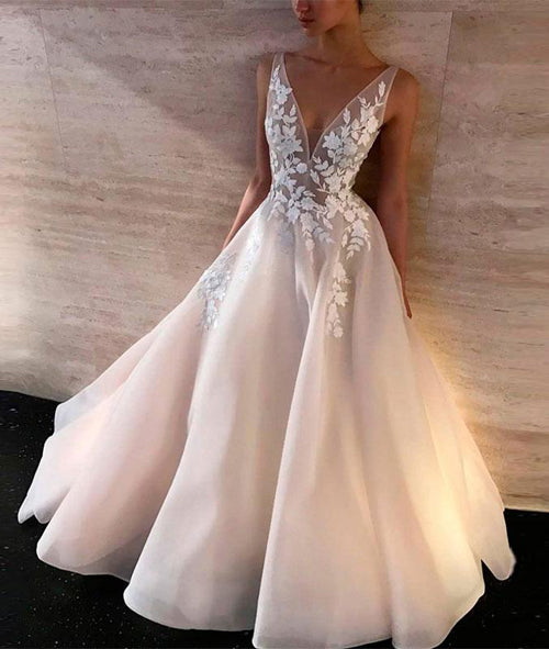 Simidress.com offer Simple White Lace V-neck A-line Long Wedding Dresses, Bridal Gown, SW234
