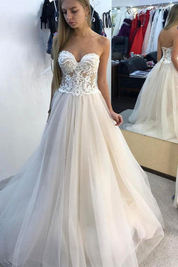 Gorgeous White A-line Sweetheart Tulle Lace Long Wedding Dresses, SW235