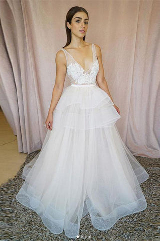Cheap Lace White Tulle V-neck Long Wedding Dresses, Bridal Gown, SW236
