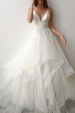 Popular White Tulle A-line V-neck Spaghetti Straps Long Wedding Dresses, SW237