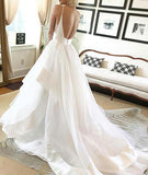 Popular White Tulle A-line V-neck Spaghetti Straps Long Wedding Dresses, SW237|simidress.com