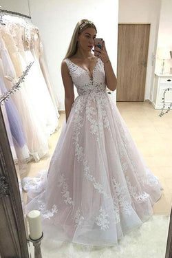 Charming Pink A-line Tulle V-neck Lace Long Wedding Dress with Appliques, SW239