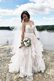 Gorgeous White Tulle Sweetheart A-line Wedding Dresses With Appliques, SW240