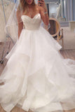 Charming Ivory Sweetheart A-line Strapless Tulle Long Beach Wedding Dresses, SW247