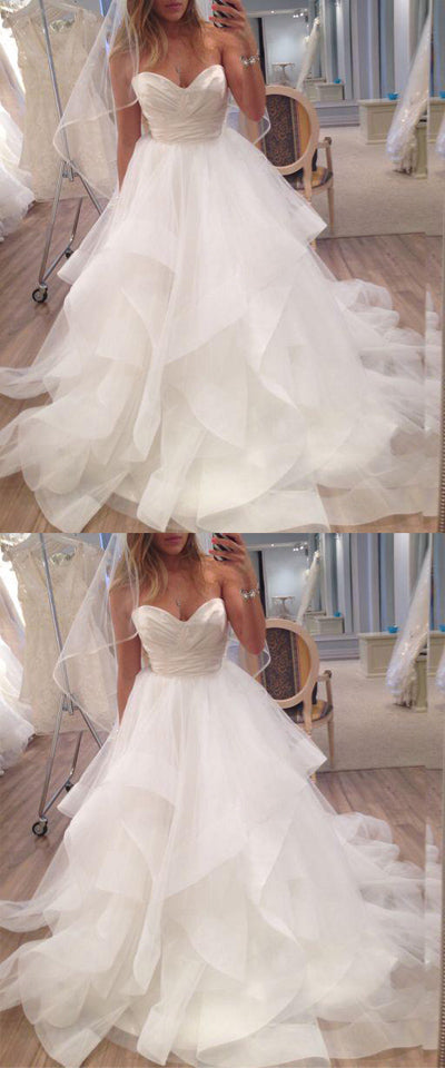 simidress.com offer Charming Ivory Sweetheart A-line Strapless Tulle Long Beach Wedding Dresses, SW247