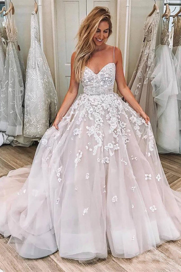 Pink Ball Gown Tulle Sweetheart Spaghetti Straps Long Wedding Dresses, SW242