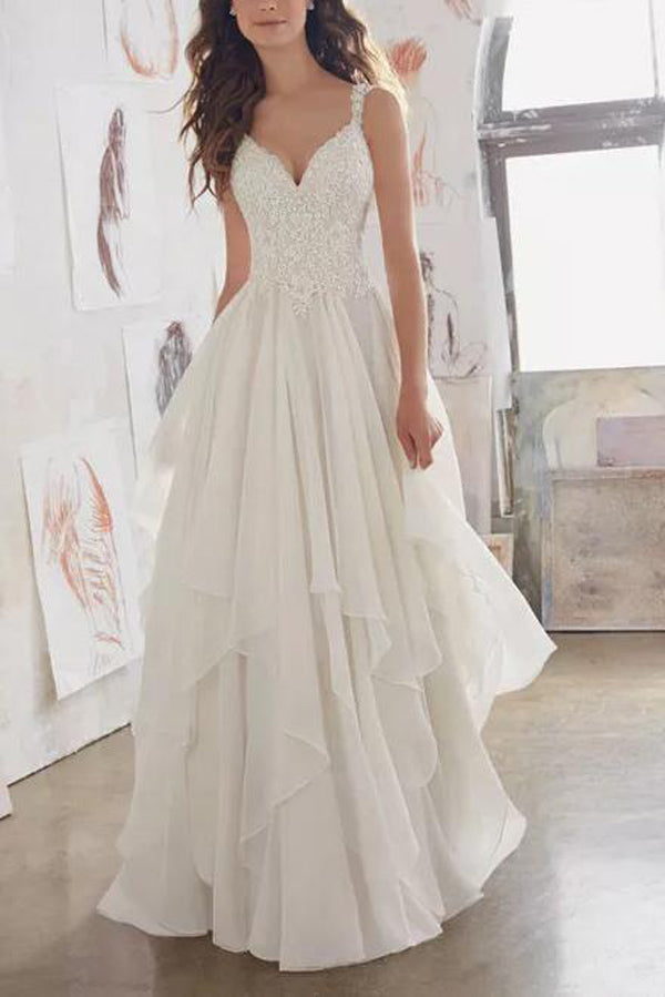 White Illusion Chiffon Straps V-neck Beach Wedding Dress Cheap Bridal Dress, SW246