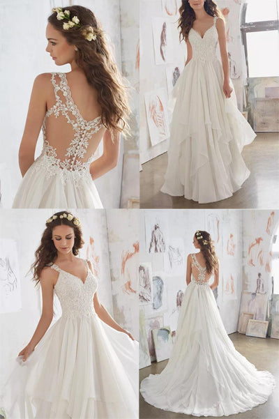 simidress.com offer White Illusion Chiffon Straps V-neck Beach Wedding Dress Cheap Bridal Dress, SW246