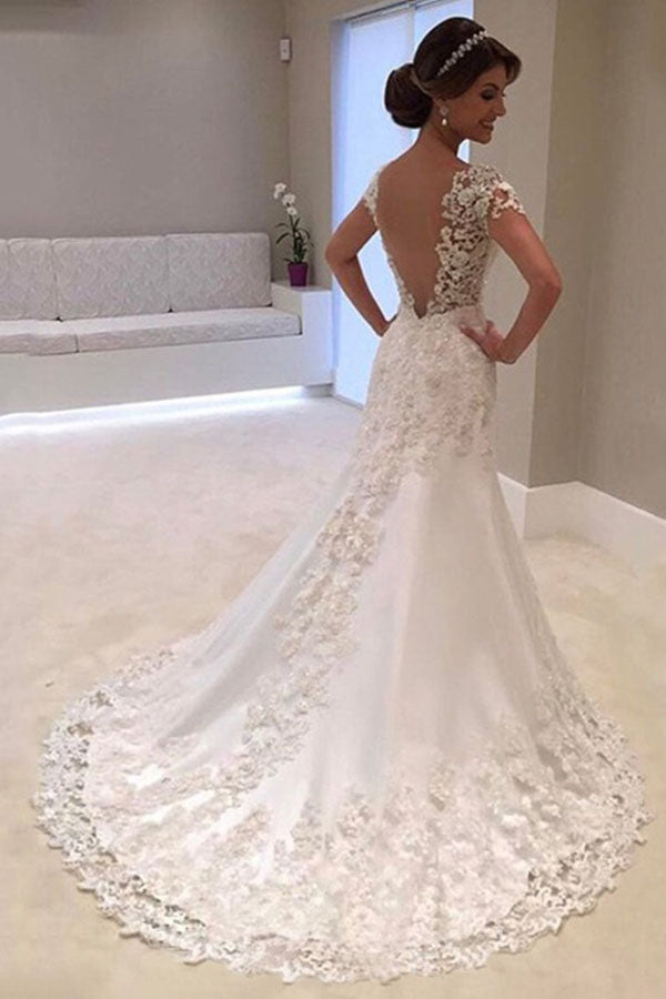 Gorgeous White Mermaid Lace Cap Sleeve Wedding Dress with Sweep Train, SW249