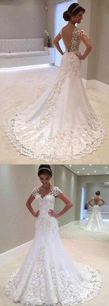 simidress.com offer Gorgeous White Mermaid Lace Cap Sleeve Wedding Dress with Sweep Train, SW249