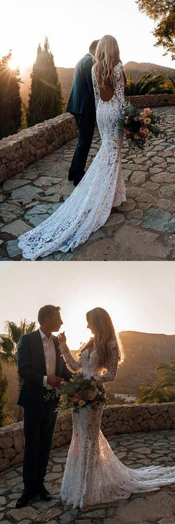 Gorgeous White Long Sleeve Lace V-neck Boho Beach Wedding Dresses, SW250 offered by www.simidress.com