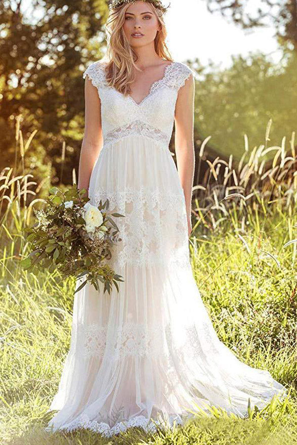 Gorgeous White Lace A-line V-neck Beach Wedding Dresses Bridal Gown, SW252