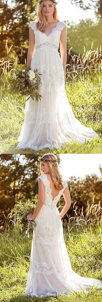 simidress.com offer Gorgeous White Lace A-line V-neck Beach Wedding Dresses Bridal Gown, SW252