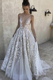 Charming Ivory Tulle A-line Deep V-neck Long Wedding Dress with Lace Appliques, SW253