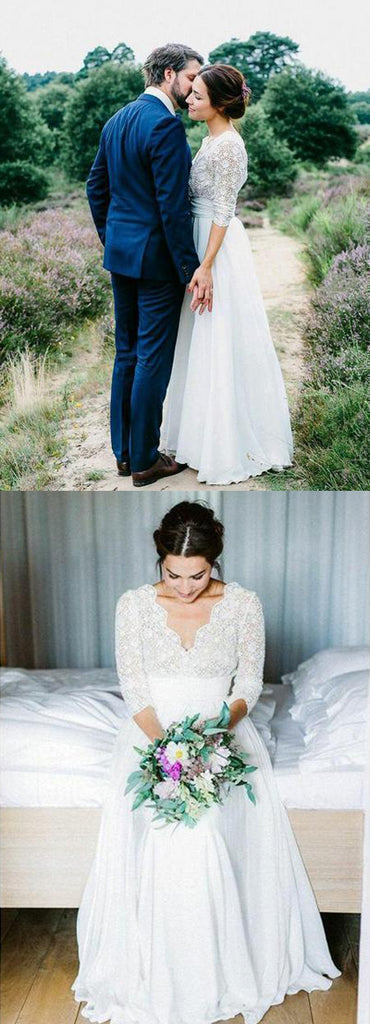 Gorgeous White See-through Backless Lace Chiffon 3/4 Sleeve Rustic Wedding Dress, SW254|simidress.com