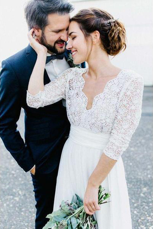 Gorgeous White See-through Backless Lace Chiffon 3/4 Sleeve Rustic Wedding Dress, SW254