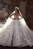 Luxurious Ball Gown Flowers Crystal Long Sleeve Wedding Dresses Bridal Gowns, SW255