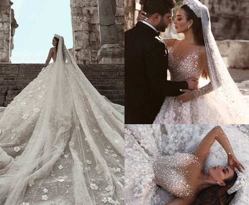 Simidress.com offer Luxurious Ball Gown Flowers Crystal Long Sleeve Wedding Dresses Bridal Gowns, SW255