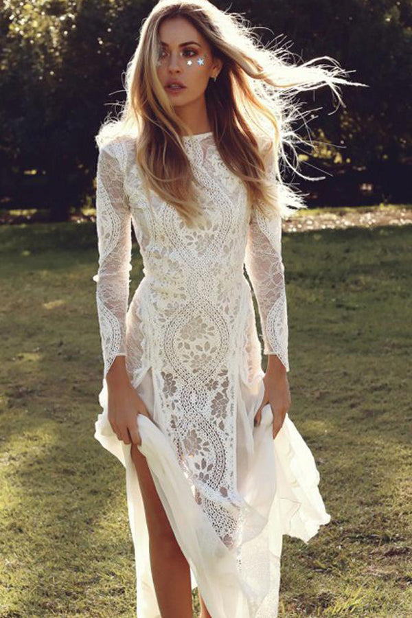 Gorgeous White Long Sleeve Backless Sheath Lace Summer Beach Wedding Dresses, SW256