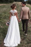 Chiffon Off White Cap Sleeves Lace Long Beach Wedding Dresses with Appliques, SW257