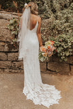 Ivory Backless Summer Rustic Lace Beach Wedding Dresses Bridal Gowns, SW259