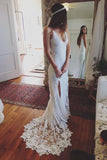 simidress.com offer Ivory Backless Summer Rustic Lace Beach Wedding Dresses Bridal Gowns, SW259