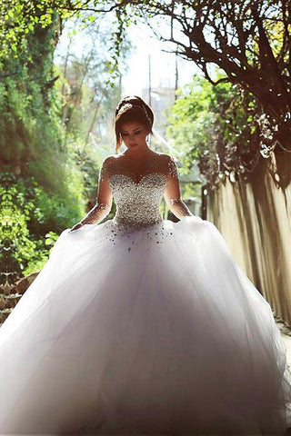 Fabulous Vintage Tulle Long Sleeve Ball Gown Wedding Dresses with Beading, SW260