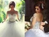 simidress.com offer Fabulous Vintage Tulle Long Sleeve Ball Gown Wedding Dresses with Beading, SW260