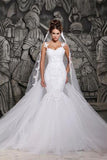 Gorgeous Lace Backless Mermaid Spaghetti Straps Wedding Dresses with Appliques, SW261