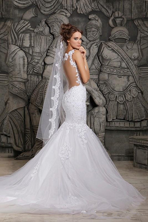 Gorgeous Lace Backless Mermaid Spaghetti Straps Wedding Dresses with Appliques, SW261|www.simidress.com