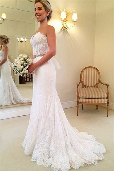 White Sweetheart Lace Court Train Mermaid  Wedding Dresses | Bridal Gowns, SW264