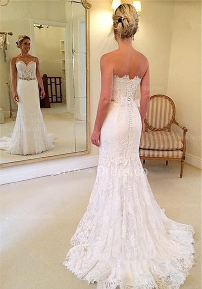 White Sweetheart Lace Court Train Mermaid  Wedding Dresses | Bridal Gowns, SW264|simidress.com