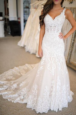 Fabulous Open Back Lace Mermaid V-neck Long Wedding Dresses | Bridal Gowns, SW265