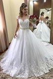 Gorgeous White Lace Sparkly Ball Gown Sweetheart Long Wedding Dresses, SW266