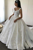Gorgeous Ball Gown Lace Backless Sweetheart Wedding Dresses with Appliques, SW267