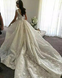 Gorgeous Ball Gown Lace Backless Sweetheart Wedding Dresses with Appliques, SW267 | simidress.com