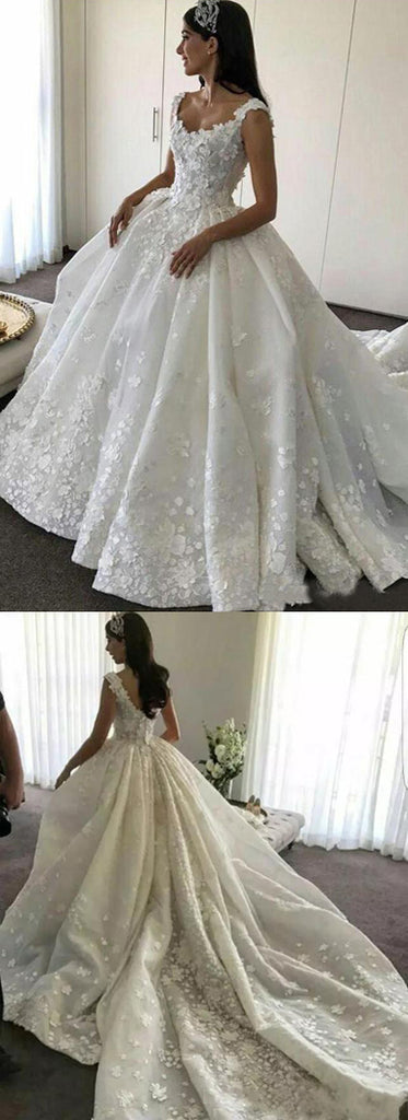 www.simidress.com | Gorgeous Ball Gown Lace Backless Sweetheart Wedding Dresses with Appliques, SW267