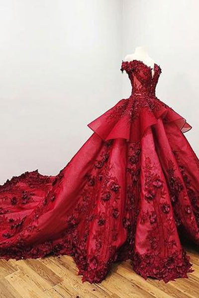 Gorgeous Red Off-the-Shoulder Beaded Ball Gown V-neck Appliques Wedding Dresses, SW268