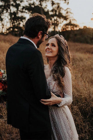 Gorgeous Lace Polka Dot Boho Wedding Dresses | Bridal Dress with Sleeves, SW269 | simidress.com