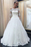 White Lace Off-the-shoulder Long Sleeves Wedding Dresses with Appliques, SW271