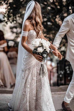 Ivory Rustic Boho Lace Sweetheart Neck Beach Wedding Dresses | Bridal Dress, SW272