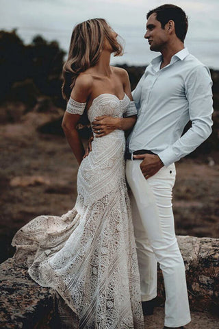 Ivory Rustic Boho Lace Sweetheart Neck Beach Wedding Dresses, Bridal Dress, SW272 | bridal gowns | bridal dresses | mermaid wedding dresses | lace wedding dresses | Simidress.com