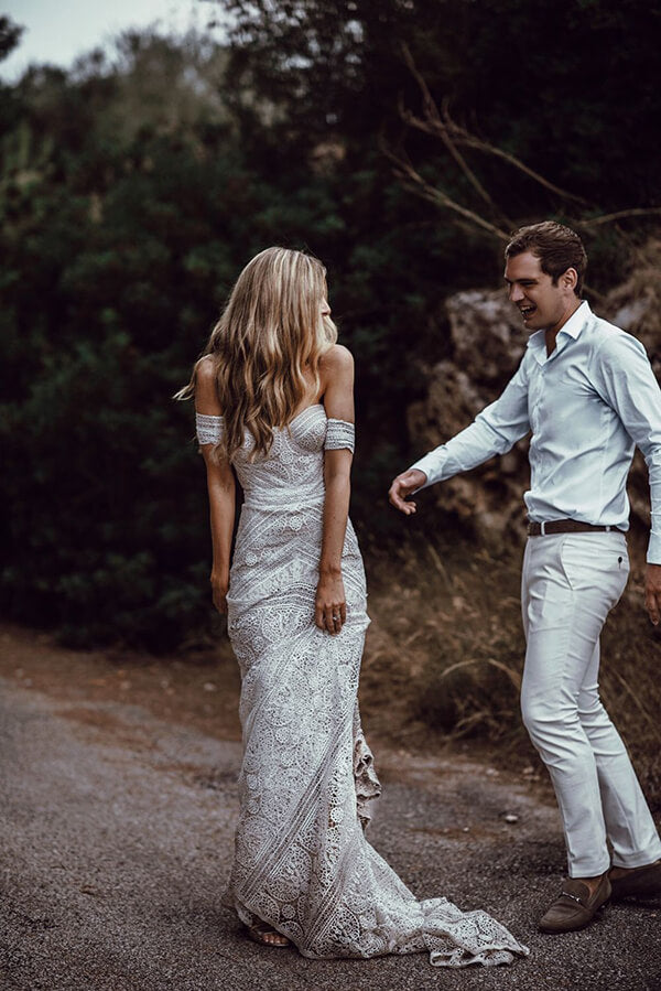 simidress.com offer Ivory Rustic Boho Lace Sweetheart Neck Beach Wedding Dresses | Bridal Dress, SW272