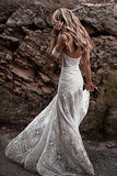 www.simidress.com | Ivory Rustic Boho Lace Sweetheart Neck Beach Wedding Dresses | Bridal Dress, SW272