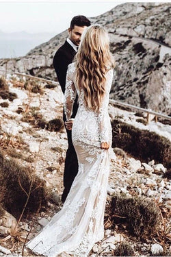 White Lace Appliques Long Sleeve Vintage Mermaid Wedding Dresses | Bridal Dress, SW273