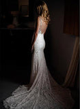 Gorgeous Ivory Lace V-neck Mermaid Country Wedding Dresses | Bridal Gowns, SW274 | www.simidress.com